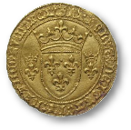return button - image of a golden coin with fleur-de-lys